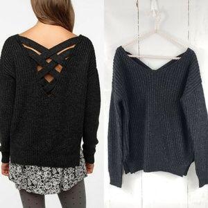Sparkle & Fade Black Sweater Lattice Back